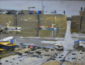 Ken Howard Original Oil Painting Of Mousehole Harbour Cornwall